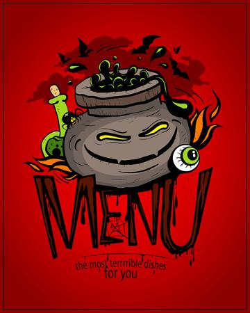 Halloween menu card design concept with potion jar vector illustration.