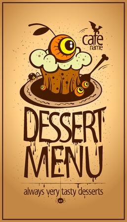 Halloween dessert menu card design vector. 向量圖像