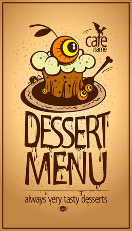 Halloween dessert menu card design vector. Illustration