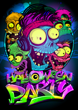 Halloween party vector poster with monster heads. Ilustracja