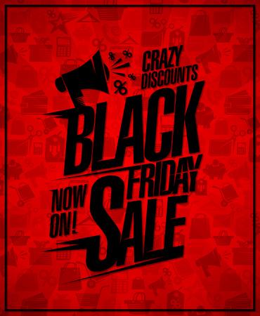 Black Friday sale poster design concept, crazy discounts.