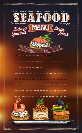 Seafood menu list design, copy space for text, hand drawn graphic illustration.