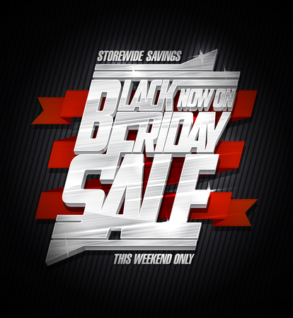 Black Friday sale vector poster, store wide savings.