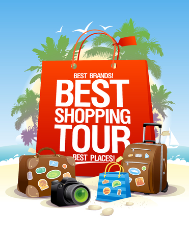 Best shopping tour poster design, big red paper bag, suitcases and camera. Shopping tourism concept. Illustration