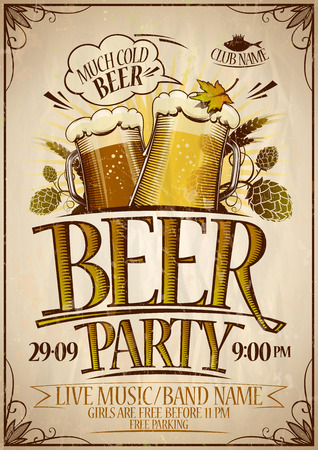 Beer party poster design concept, vintage style.