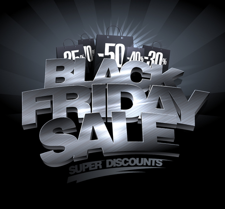 Black Friday sale, super discounts banner concept.
