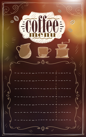 De lijstontwerp van het koffiemenu, exemplaarruimte voor tekst op bruine achtergrond.