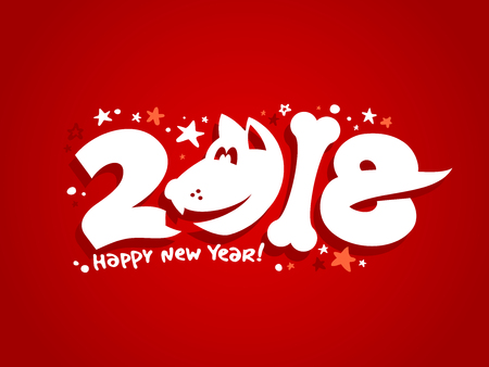 2018 year card concept on red background, vector illustration.