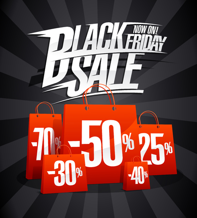 Black Friday sale advertising poster concept, vector illustration.