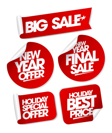 Big sale new year offers set stickers, holiday special offers