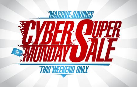 Cyber Monday super sale web banner concept. Illustration