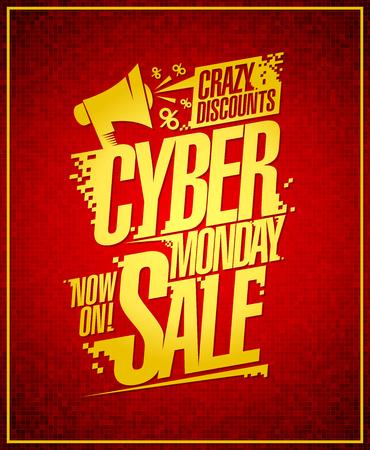 Cyber Monday crazy discounts sale banner. Illustration