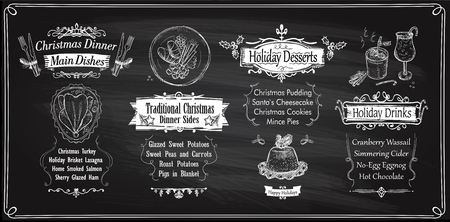 Chalk Christmas menu chalkboards design, holiday menu - main dishes, sides, desserts and drinks. Vector hand drawn illustration Stock Vector - 89858670