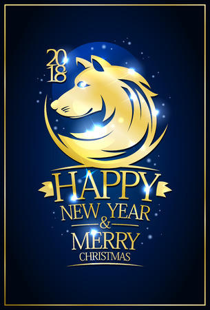 2018 Happy new year and Merry Christmas dark blue card with golden dog silhouette Illustration