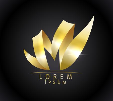 花のベクトルの形でのゴールデン M 文字エンブレム コンセプトはシックです  イラスト・ベクター素材