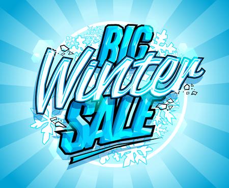 큰 겨울 판매 디자인, 광고 벡터 배너 개념