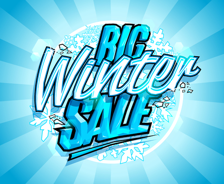 Big winter sale design, advertising vector banner concept Illustration