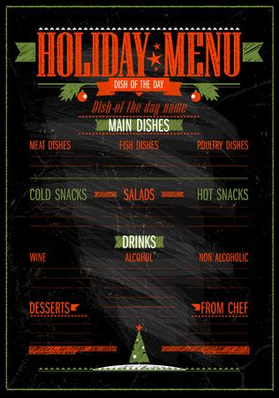 Holiday Christmas and New year menu chalkboard design vector Illustration