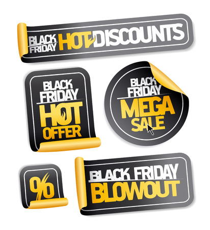 Black Friday sale stickers set vector
