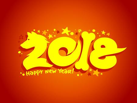 2018 year symbol design concept Illustration