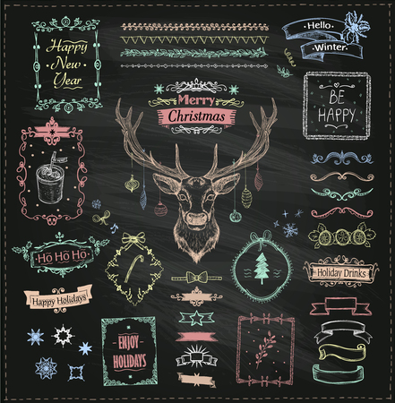 Chalk hand drawn Christmas and New Year sketch elements on chalkboard  イラスト・ベクター素材