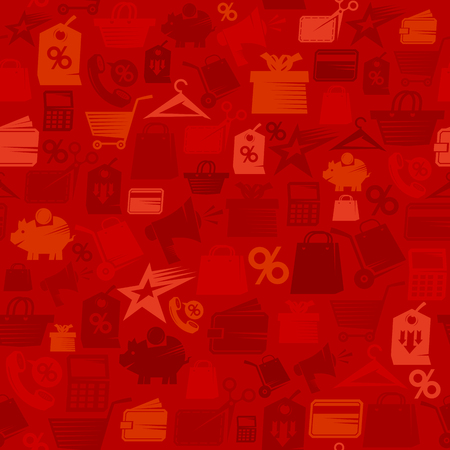 Red sale shopping pattern with collection of shopping symbols