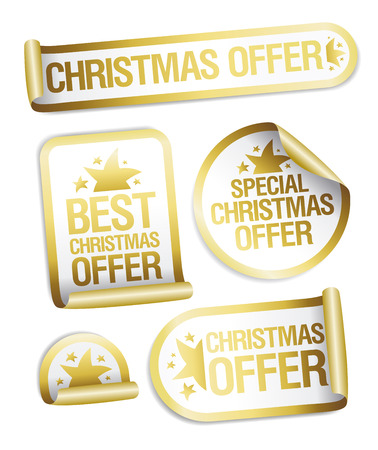 Christmas sale offer golden stickers set Vettoriali