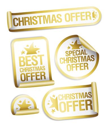 Christmas sale offer golden stickers set Illustration