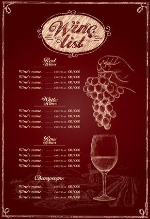 Het menu grafische illustratie van de wijnlijst met bos van druif en glas wijn, exemplaarruimte voor tekst