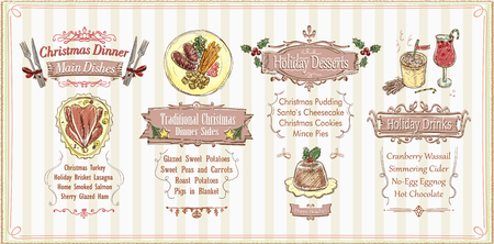 Christmas menu list design, holiday menu - main dishes, sides, desserts and drinks. Hand drawn vector illustration