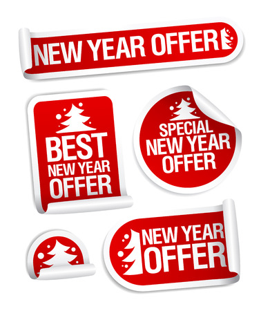 New year sale offer vector stickers set