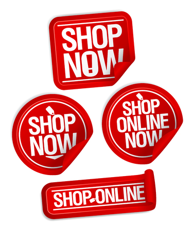 Shop now buttons, online store stickers
