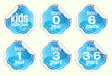 Set of vector label stickers for babies goods Иллюстрация