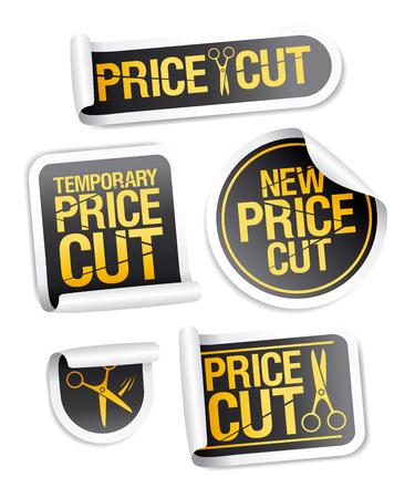 Price cut sale stickers vector set