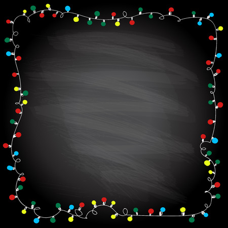 Simple frame with garland lights on a chalkboard background, hand drawn doodle illustration