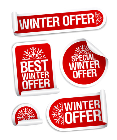 Winter offer stickers vector set Ilustrace