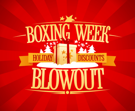 Boxing week blowout sale vector design, holiday discounts 向量圖像