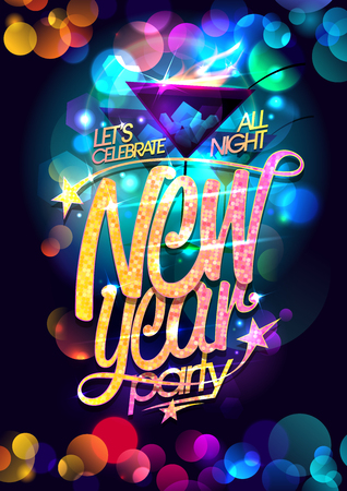 New Year party design with martini glasses and multicolored bokeh lights backdrop.