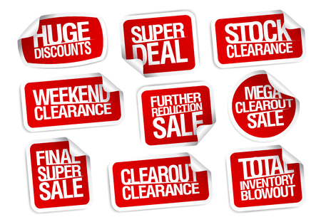 Sale stickers collection - super deal, stock clearance, huge discounts, weekend clearance, etc. 版權商用圖片 - 93144757