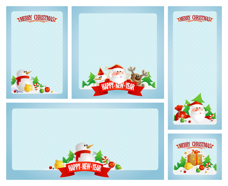 Christmas frames set with Santa, deer and snowman