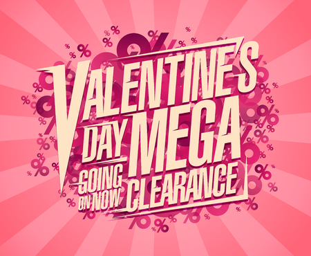 Valentine`s day mega clearance, sale poster concept