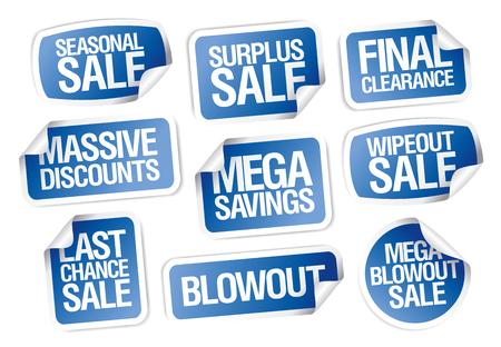 판매 스티커 세트 - 엄청난 할인, 메가 저축, 계절 판매, 최종 정리, 마지막 기회 등.