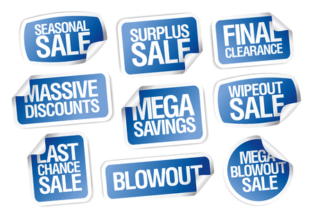 Sale stickers set - massive discounts, mega savings, seasonal sale, final clearance, last chance, etc.