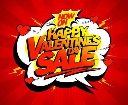 Happy Valentines day sale banner design, explosive pop art style Illustration