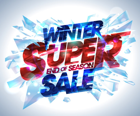 Winter super sale vector poster with explosion 3d pieces of ice.