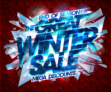 Great winter sale poster vector design with explosion pieces of ice.