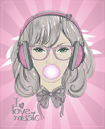 Young woman portrait with headphones, chewing gum, I love music design concept, hand drawn illustration