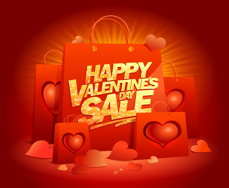 Happy Valentines day sale poster design with paper bags and hearts
