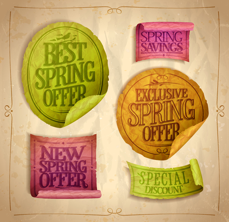 Best, exclusive, new spring offer stickers set, special discounts