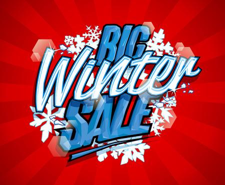 Big winter sale vector design concept Иллюстрация